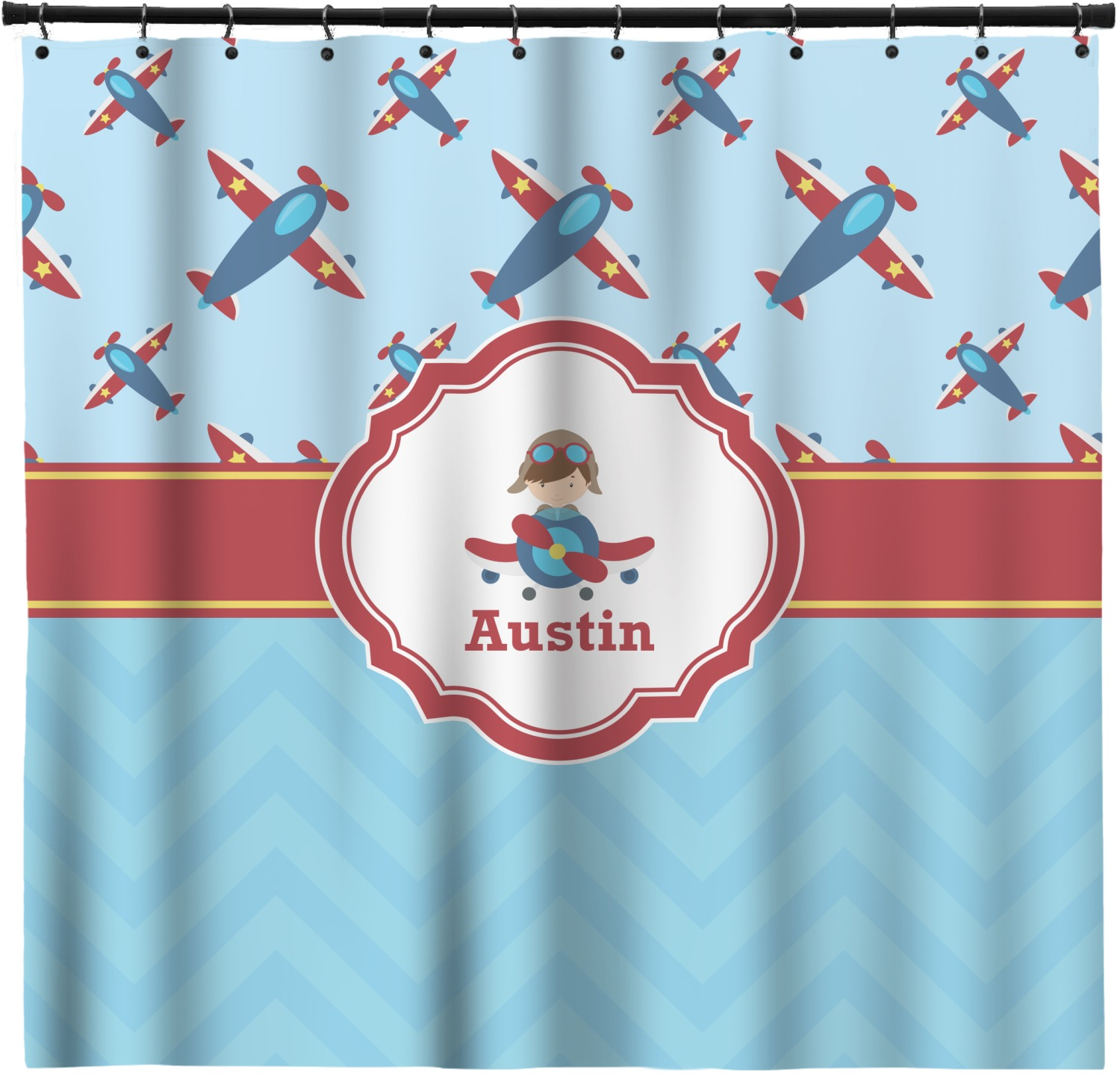 Airplane Theme Shower Curtain Personalized
