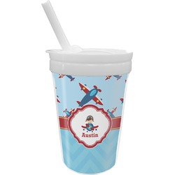 Airplane Theme Sippy Cup with Straw (Personalized)