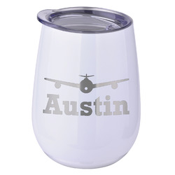 Airplane Theme Stemless Wine Tumbler - 5 Color Choices - Stainless Steel  (Personalized)