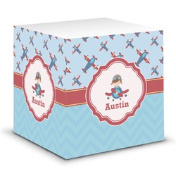 Airplane Theme Sticky Note Cube (Personalized)