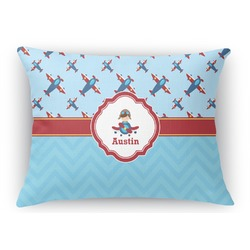 Airplane Theme Rectangular Throw Pillow Case (Personalized)
