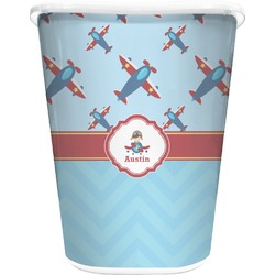 Airplane Theme Waste Basket - Double Sided (White) (Personalized)