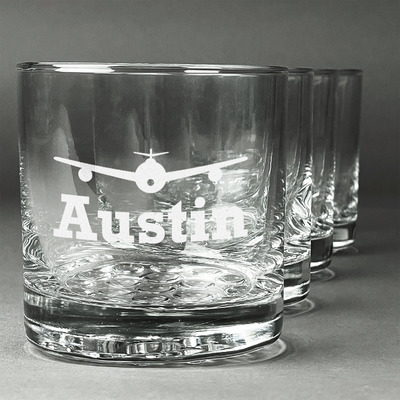 Airplane Theme Whiskey Glasses (Set of 4) (Personalized)