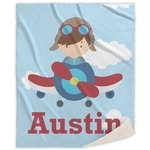 Airplane & Pilot Sherpa Throw Blanket (Personalized)