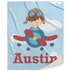 """Airplane & Pilot Sherpa Throw Blanket - 60""""x80"""" (Personalized)"""