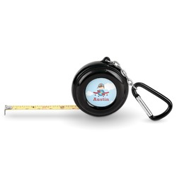 Airplane & Pilot Pocket Tape Measure - 6 Ft w/ Carabiner Clip (Personalized)