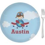 Airplane & Pilot Glass Appetizer / Dessert Plates 8