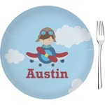 "Airplane & Pilot Glass Appetizer / Dessert Plates 8"" - Single or Set (Personalized)"