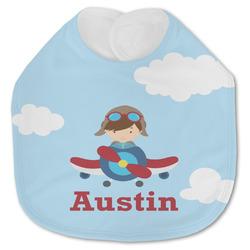 Airplane & Pilot Jersey Knit Baby Bib w/ Name or Text