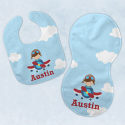 Airplane & Pilot Baby Bib & Burp Set w/ Name or Text