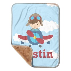 """Airplane & Pilot Sherpa Baby Blanket 30"""" x 40"""" (Personalized)"""