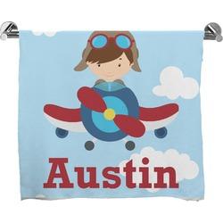 Airplane & Pilot Full Print Bath Towel (Personalized)