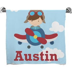 Airplane & Pilot Full Print Bath Towel (Personalized)