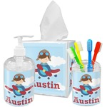 Airplane & Pilot Acrylic Bathroom Accessories Set w/ Name or Text