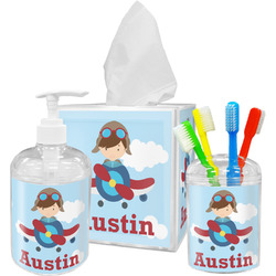 Airplane & Pilot Bathroom Accessories Set (Personalized)
