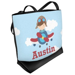Airplane & Pilot Beach Tote Bag (Personalized)