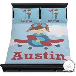 Airplane & Pilot Duvet Cover Set (Personalized)