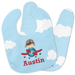Airplane & Pilot Baby Bib w/ Name or Text