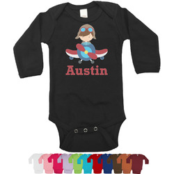 Airplane & Pilot Long Sleeves Bodysuit - 12 Colors (Personalized)