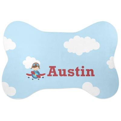 Airplane Amp Pilot Bone Shaped Dog Food Mat Personalized