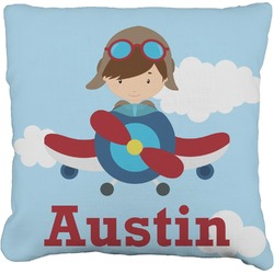 """Airplane & Pilot Faux-Linen Throw Pillow 16"""" (Personalized)"""