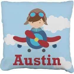 """Airplane & Pilot Faux-Linen Throw Pillow 26"""" (Personalized)"""