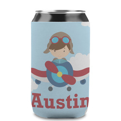 Airplane & Pilot Can Sleeve (12 oz) (Personalized)