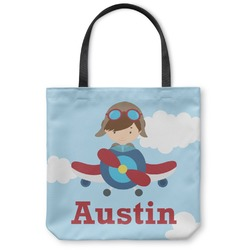 "Airplane & Pilot Canvas Tote Bag - Small - 13""x13"" (Personalized)"