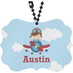 Airplane & Pilot Rear View Mirror Charm (Personalized)
