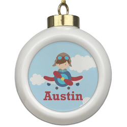 Airplane & Pilot Ceramic Ball Ornament (Personalized)