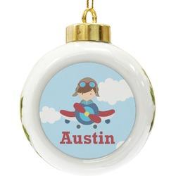 Airplane & Pilot Ceramic Ball Ornament (Personalized)