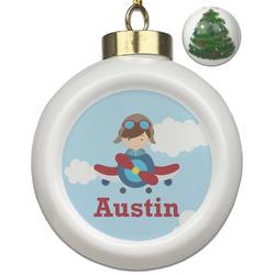 Airplane & Pilot Ceramic Ball Ornament - Christmas Tree (Personalized)