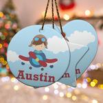 Airplane & Pilot Ceramic Ornament w/ Name or Text