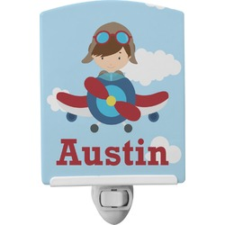 Airplane & Pilot Ceramic Night Light (Personalized)