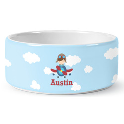 Airplane & Pilot Pet Bowl (Personalized)