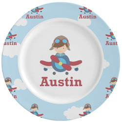 Airplane & Pilot Ceramic Dinner Plates (Set of 4) (Personalized)