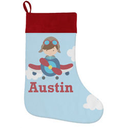 Airplane & Pilot Holiday Stocking w/ Name or Text