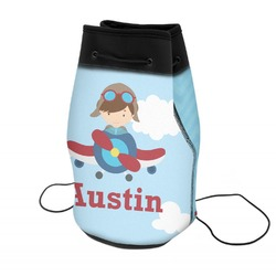 Airplane & Pilot Neoprene Drawstring Backpack (Personalized)