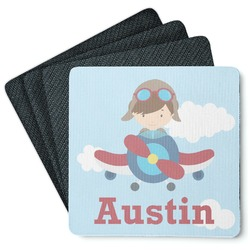 Airplane & Pilot 4 Square Coasters - Rubber Backed (Personalized)
