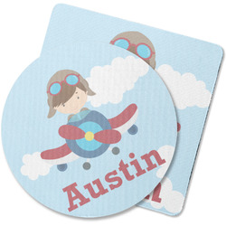 Airplane & Pilot Rubber Backed Coaster (Personalized)