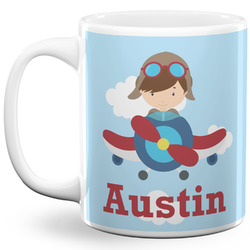 Airplane & Pilot 11 Oz Coffee Mug - White (Personalized)