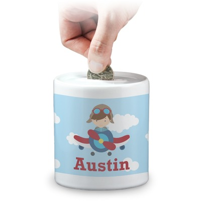 Airplane & Pilot Coin Bank (Personalized)