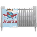 Airplane & Pilot Crib Comforter / Quilt (Personalized)