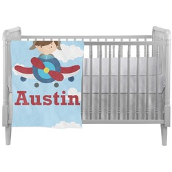Airplane & Pilot Crib Comforter / Quilt (Personalized)