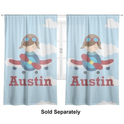"Airplane & Pilot Curtains - 20""x84"" Panels - Lined (2 Panels Per Set) (Personalized)"
