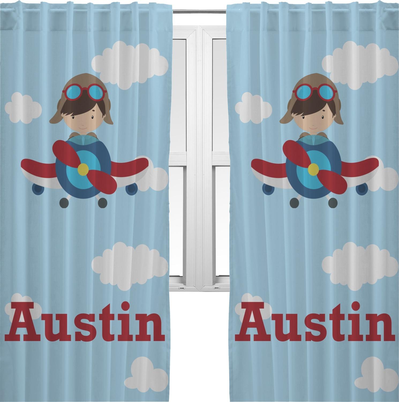 Airplane U0026 Pilot Curtains (2 Panels Per Set) (Personalized)