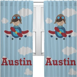 Airplane & Pilot Curtains (2 Panels Per Set) (Personalized)