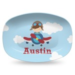Airplane & Pilot Plastic Platter - Microwave & Oven Safe Composite Polymer (Personalized)