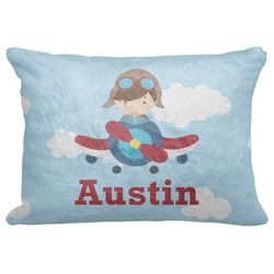 "Airplane & Pilot Decorative Baby Pillowcase - 16""x12"" (Personalized)"