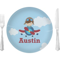 "Airplane & Pilot 10"" Glass Lunch / Dinner Plates - Single or Set (Personalized)"